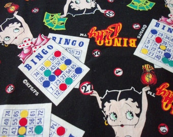 """Betty Boop Bingo Fabric Rare and Hard to Find By The Fat Quarter 18"""" x 22"""""""
