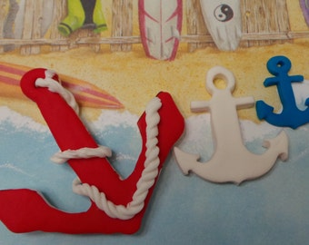 6 ANCHOR made of vanilla fondant ready for your cake cookies or any other bake goods