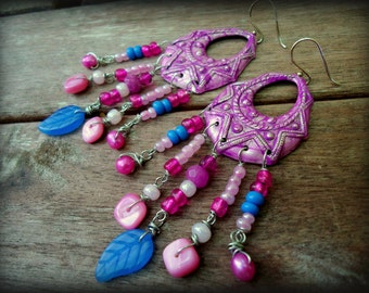 25% OFF SALE Magenta Hot Pink Blue Boho Chic Tribal Bohemian Chandelier Earrings, India Bollywood Hippie Gypsy Colorful Spring Jewelry