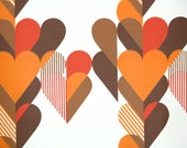 Retro Wallpaper by the Yard 70s Vintage Wallpaper - 1970s Orange Red and Brown Hearts on White