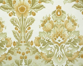 Retro Wallpaper by the Yard 70s Vintage Wallpaper - 1970s Gold and Green Floral Damask