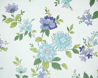 Retro Wallpaper by the Yard 70s Vintage Wallpaper - 1970s Purple and Blue Floral on White
