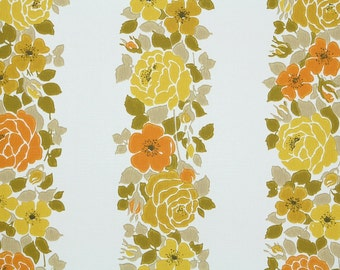 Retro Wallpaper by the Yard 70s Vintage Wallpaper – 1970s Orange and Yellow Floral Stripes on White