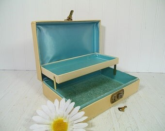 Shabby Chic Sea Foam Blue Satin Lined Ivory Jewelry Box - Retro Two Level Turquoise Blue Interior Display Case with Gold Trim & Original Key