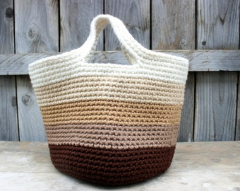 Large Crochet Boho Tote - Brown Ombre