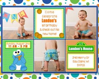 Birthday Card, Digital Photo Card, Little Boy's First Birthday Photoshop, Template Birthday, Birthday Card, - Landon's First Birthday Card