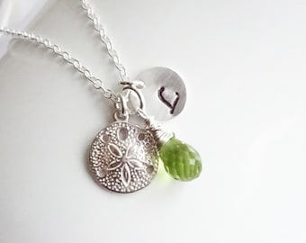Sterling Silver Sand Dollar Birthstone Initial Necklace