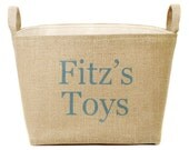 20% OFF! Personalized Burlap Toy Basket