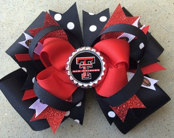 """TEXAS TECH Red Raiders Hairbow in Red and Black with Bottle Cap 5"""""""