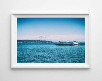 Mount Rainier and Ferry Boat in Washington State - Seattle Art, Nautical Decor, Beach Decor - Small and Large Wall Art Sizes Available