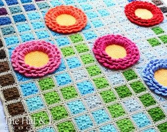 CROCHET PATTERN - Garden Mosaic - a pixel blanket pattern, afghan pattern, crochet blanket pattern, flower blanket - Instant PDF Download