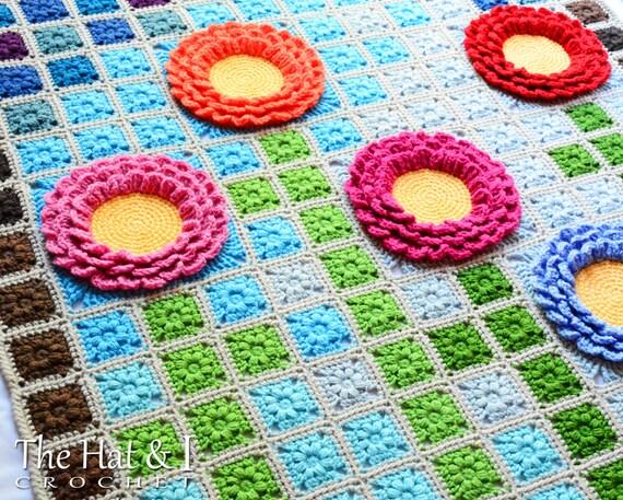 CROCHET PATTERN Garden Mosaic a pixel blanket pattern