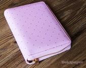 A6 Lilac Pink Gold/White Gold  Polka Dot Zipper Planner /Journal Planner/Refillable planner/zipper planner/NB012