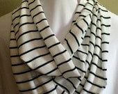 CLEARANCE: White with Black Stripes Extra Long Infinity Scarf