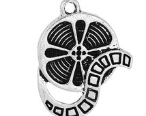 5 FILM REEL Charms, Silver Tone Metal Pendants . Movie Theater Charms chs2020