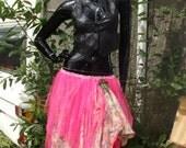 pink flouro rave fairy fae tutu party festival fairy tale upcycled skirt uk size 12 14 16