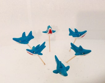 Blue Shark Cupcake Toppers
