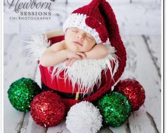 Newborn Santa Hat, Christmas Photo Prop,Holiday Hat, Newborn Pom Pom Hat, Christmas Baby Hat, Hat With Bow, Burgundy And White Hat, Elf Hat