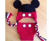 Mickey Mouse Hat & Diaper Cover - Newborn Photography Prop Disney Inspired - Crocheted 0-3 3-6 6-12 months tassels buttons black red white