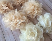 "Ivory Cream Tan Lace Fabric Flowers Smal Ava 2.75"" Lace & Sheer Chiffon flower wedding embellishment baby headband applique flower wholesale"