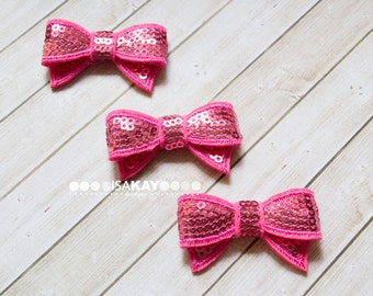 Hot Pink Mini Sequin Bows - Adorable bows with reflective sequins for hairbands or shoeclips - Lots of sparkly bling!