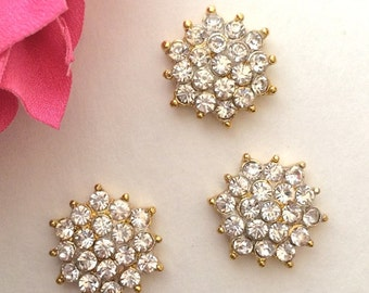 "6 rhinestone GOLD plating button Crystal star flower centers buttons flat back 18mm 1/2"" size jewel embellishment accent metal component"