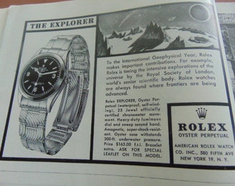 National Geographic 1950's Rare Rolex Explorer Advertisement and others in Magazine