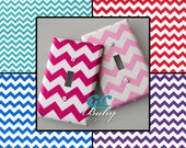 Chevron Light Switch and Outlet Covers - 6 Colors White & Pink, Pink, Purple, Aqua, Blue, or Red - Rocker, Pole, Toggle, Duplex, Plug