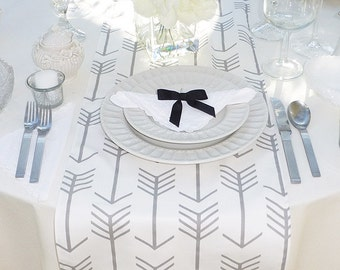 Choose your Table Runner, Gray Table Runner - Gray Wedding Linens - Gray Table Topper - Arrow White and Gray Table Runner