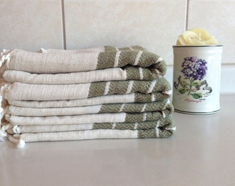 Premium Turkish Towel, Peshtemal, Bath and Beauty, Bath and Body, Hammam, for her, Christmas gift, for her, Natural Linen, spa, yoga, green