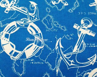 SALE - Anchor compass and wheel, on blue map, 1/2 yard, pure cotton fabric