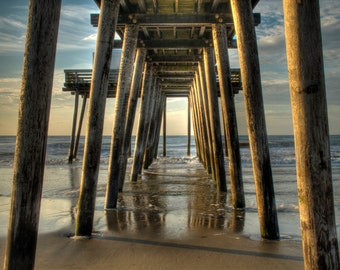 Under the Pier, Ocean City, New Jersey Shore, Color Photograph, Beach Decor, Ocean, Summer Morning, Sand, Blue Sky, Art Print