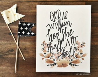 God Is Within Her - Handwritten Print - Psalm 46:5