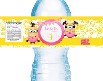 Minions Girl Birthday Water Bottle Labels!!