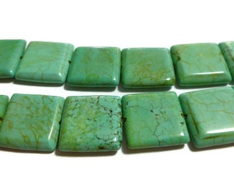 """Mint Green Magnesite - Square - 18mm x 18mm - 9"""" Strand - 13 beads"""