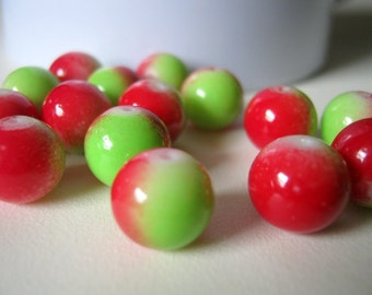 40 Red and Green Round Glass Beads 10mm, Jewelry Making Supplies