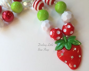 Strawberry Chunky Necklace -- Strawberry Shortcake -- Red and lime green with strawberry charm