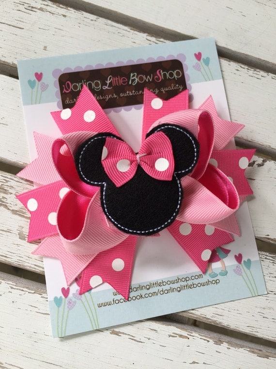 Miss Mouse Bow - Hot pink Miss Mouse Bow - Darling Little Bow Shop