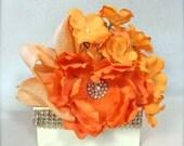 Vintage Wrapped Gift BoxJewelry Gift Box Orange Gift Card Holder, Pre-wrapped Gift Box, Wedding Favor, Bridesmaid Gift, Elegant,  Rhinestone