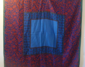 Large Square Vintage Red Blue Green Paisley Silk Scarf Van Horn