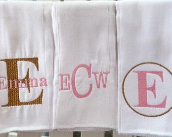 Monogrammed burp cloth set Set of 3 Monogrammed burp cloths PICK  your own Thread colors