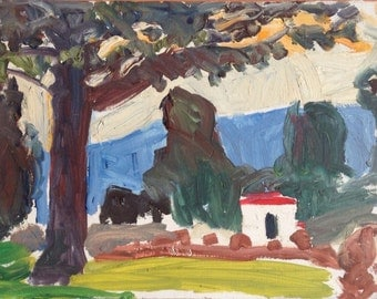Keeping it simple - Original small plein air landscape painting, oil on wood panel, 14 x 19 cm, 5.5 x 7.5 inch, Shirley Kanyon