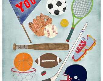 Sports Theme Room, Wall, Playroom Art, Sports Decor, Boy, Football, Basketball, Baseball, Track, Tennis, Hockey, Sports Fanatic, Lily Cole