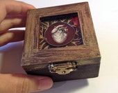 Tiny Jewel Box - Burgundy and Gold - Heart Box - Anatomical Heart - Ring Box
