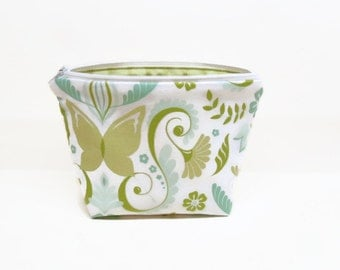 small makeup bag makeup pouch zipper pouch zipper bag floral pastel green blue