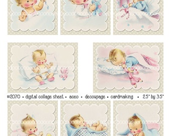 Digital Clipart, instant download, vintage baby card images, new baby, bath, sleeping, decoupage aceo--8.5 by 11--Digital Collage Sheet 2070