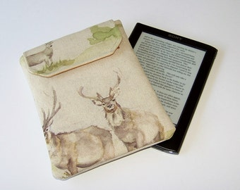 Small padded Kindle Case, Highland Deer, Kindle Paperwhite, Sony Touch eReader, Kobo Touch eReader