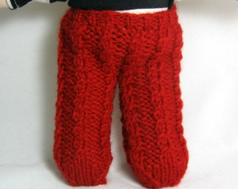 Hand Knit Cabled Tights For 10 Inch Dolls