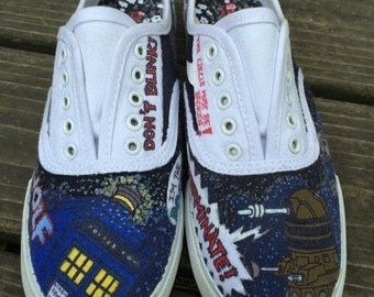 Custom Doctor Who Low-Top Canvas Shoes