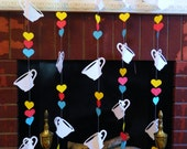Alice in Wonderland Birthday Party decor- Tea for TWO Birthday Decorations - Tea Party Garland- Paper Garland Backdrop- your color choices